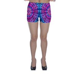 Red Blue Tie Dye Kaleidoscope Opaque Color Circle Skinny Shorts