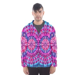 Red Blue Tie Dye Kaleidoscope Opaque Color Circle Hooded Wind Breaker (Men)