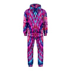 Red Blue Tie Dye Kaleidoscope Opaque Color Circle Hooded Jumpsuit (Kids)