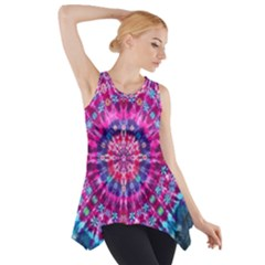 Red Blue Tie Dye Kaleidoscope Opaque Color Circle Side Drop Tank Tunic