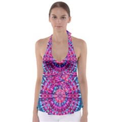 Red Blue Tie Dye Kaleidoscope Opaque Color Circle Babydoll Tankini Top