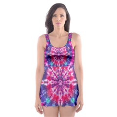 Red Blue Tie Dye Kaleidoscope Opaque Color Circle Skater Dress Swimsuit
