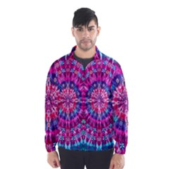 Red Blue Tie Dye Kaleidoscope Opaque Color Circle Wind Breaker (Men)