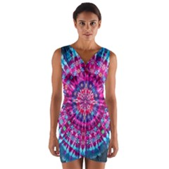 Red Blue Tie Dye Kaleidoscope Opaque Color Circle Wrap Front Bodycon Dress