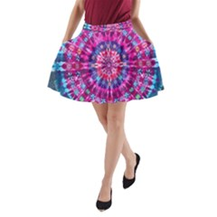 Red Blue Tie Dye Kaleidoscope Opaque Color Circle A-Line Pocket Skirt