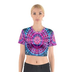 Red Blue Tie Dye Kaleidoscope Opaque Color Circle Cotton Crop Top
