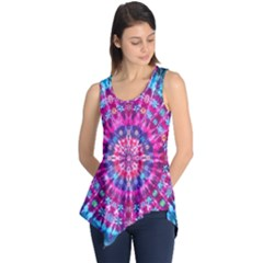 Red Blue Tie Dye Kaleidoscope Opaque Color Circle Sleeveless Tunic