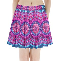 Red Blue Tie Dye Kaleidoscope Opaque Color Circle Pleated Mini Skirt