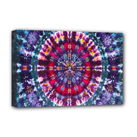 Red Purple Tie Dye Kaleidoscope Opaque Color Deluxe Canvas 18  x 12