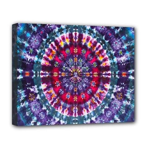 Red Purple Tie Dye Kaleidoscope Opaque Color Deluxe Canvas 20  x 16