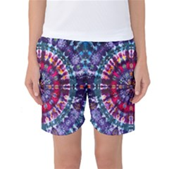 Red Purple Tie Dye Kaleidoscope Opaque Color Women s Basketball Shorts
