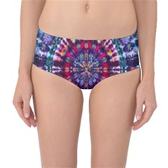 Red Purple Tie Dye Kaleidoscope Opaque Color Mid-Waist Bikini Bottoms