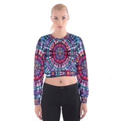 Red Purple Tie Dye Kaleidoscope Opaque Color Cropped Sweatshirt