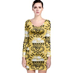 Trophy Beers Glass Drink Long Sleeve Bodycon Dress