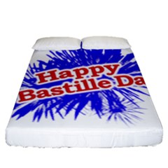 Happy Bastille Day Graphic Logo Fitted Sheet (Queen Size)
