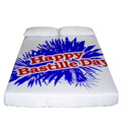 Happy Bastille Day Graphic Logo Fitted Sheet (California King Size)