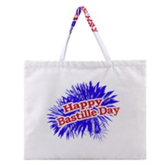 Happy Bastille Day Graphic Logo Zipper Large Tote Bag