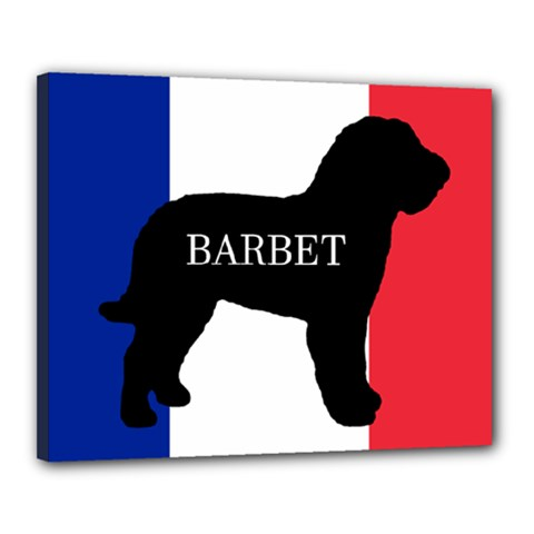 Barbet Name Silhouette on flag Canvas 20  x 16