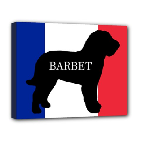 Barbet Name Silhouette on flag Deluxe Canvas 20  x 16