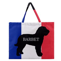 Barbet Name Silhouette On Flag Zipper Large Tote Bag
