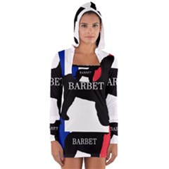 Barbet Name Silhouette on flag Women s Long Sleeve Hooded T-shirt
