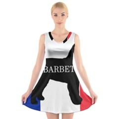 Barbet Name Silhouette on flag V-Neck Sleeveless Skater Dress