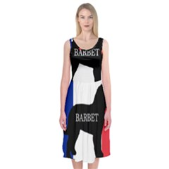 Barbet Name Silhouette on flag Midi Sleeveless Dress