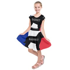 Barbet Name Silhouette on flag Kids  Short Sleeve Dress