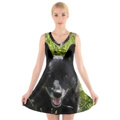 Norwegian Buhund V-Neck Sleeveless Skater Dress