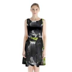 Norwegian Buhund Sleeveless Waist Tie Chiffon Dress