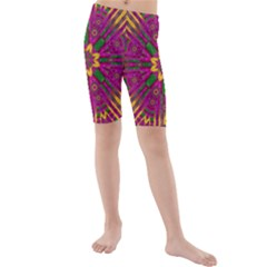 Feather Stars Mandala Pop Art Kids  Mid Length Swim Shorts
