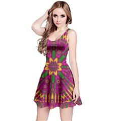 Feather Stars Mandala Pop Art Reversible Sleeveless Dress