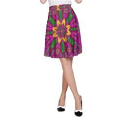 Feather Stars Mandala Pop Art A Line Skirt