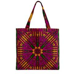 Feather Stars Mandala Pop Art Zipper Grocery Tote Bag