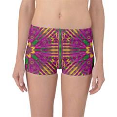 Feather Stars Mandala Pop Art Reversible Boyleg Bikini Bottoms