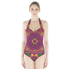 Feather Stars Mandala Pop Art Halter Swimsuit