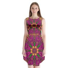 Feather Stars Mandala Pop Art Sleeveless Chiffon Dress