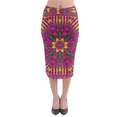 Feather Stars Mandala Pop Art Midi Pencil Skirt