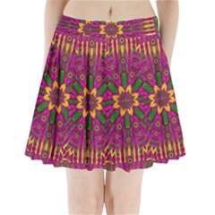 Feather Stars Mandala Pop Art Pleated Mini Skirt