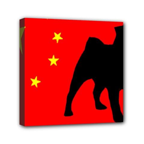 Pug China Flag Mini Canvas 6  x 6
