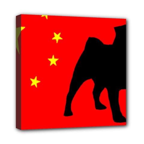 Pug China Flag Mini Canvas 8  x 8