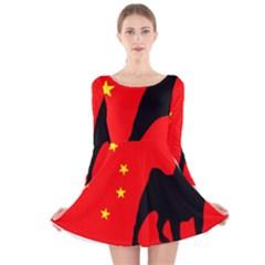 Pug China Flag Long Sleeve Velvet Skater Dress