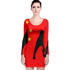 Pug China Flag Long Sleeve Velvet Bodycon Dress