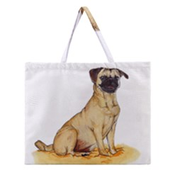Pug Color Drawing Zipper Large Tote Bag