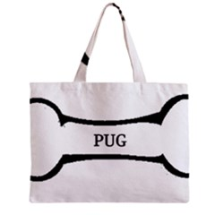 Pug Dog Bone Zipper Mini Tote Bag