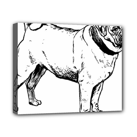 Pug Drawing Canvas 10  x 8