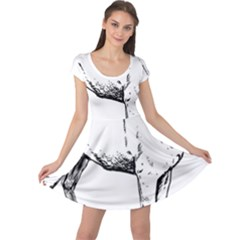 Pug Drawing Cap Sleeve Dresses