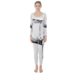Pug Drawing Long Sleeve Catsuit
