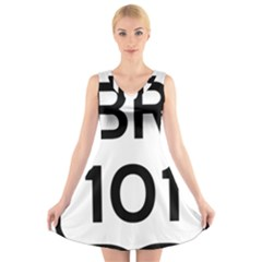 Brazil BR-101 Transcoastal Highway  V-Neck Sleeveless Skater Dress
