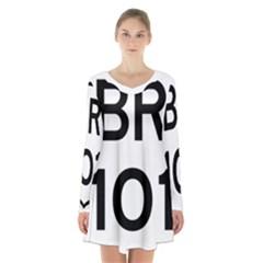 Brazil BR-101 Transcoastal Highway  Long Sleeve Velvet V-neck Dress